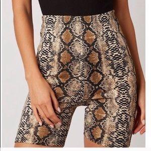 Pants - Snakeskin print bike shorts